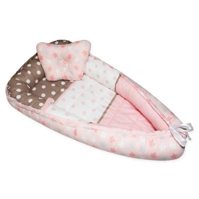 """Гнездо-кокон для новорожденных двухстороннее """"Mona Lisa & Звездный Микс розовый"""" Cherry Mom"""
