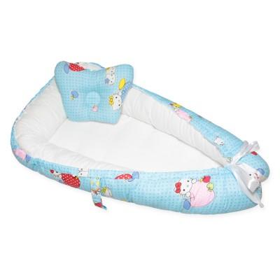 """Гнездо-кокон для новорожденных двухстороннее """"Kitty Blue & White"""" Cherry Mom"""