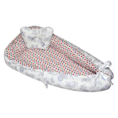 """Гнездо-кокон для новорожденного двухстороннее """"Конфетти & Teddy Bear"""" Cherry Mom"""