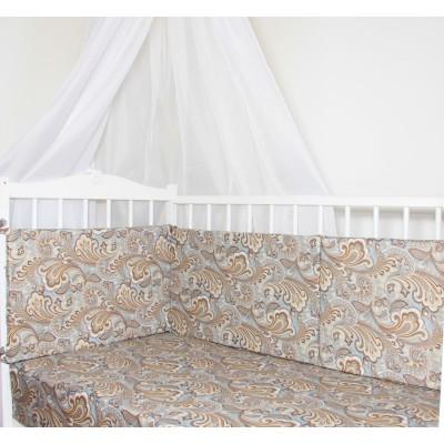 """Бортики подушки в детскую кроватку """"Цветочный орнамент"""" CherryMom"""