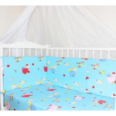 "Бортики подушки в детскую кроватку ""Kitty Blue"" CherryMom"