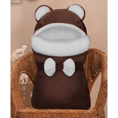 "Зимний конверт на выписку меховой ""Мишка"" Бурый (CherryMom)"