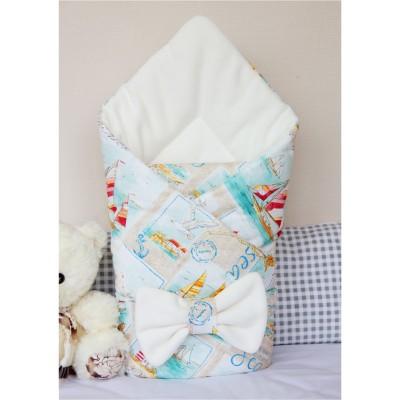 """Конверт одеяло на выписку для мальчика """"Морской Бриз"""" CherryMom"""