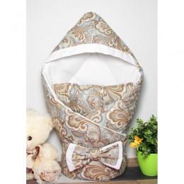 """Конверт одеяло с капюшоном на выписку """"Цветочный орнамент"""" (CherryMom)"""