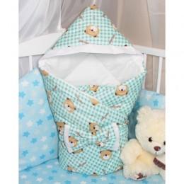 """Конверт-одеяло на выписку с капюшоном """"Happy Bear"""" (CherryMom)"""