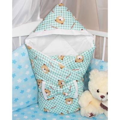"""Детский конверт одеяло с капюшоном на выписку """"Happy Bear"""" CherryMom"""