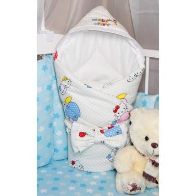 """Конверт одеяло на выписку с капюшоном """"Hello Kitty"""" CherryMom"""