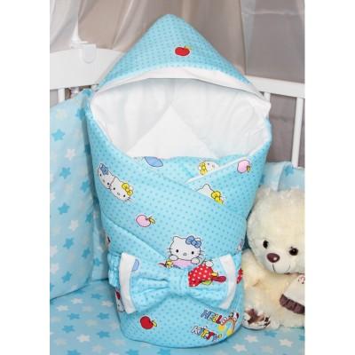 """Конверт одеяло для новорожденного с капюшоном """"Kitty Blue"""" CherryMom"""