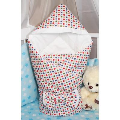 """Одеяло-конверт для новорожденного с капюшоном """"Конфетти"""" CherryMom"""