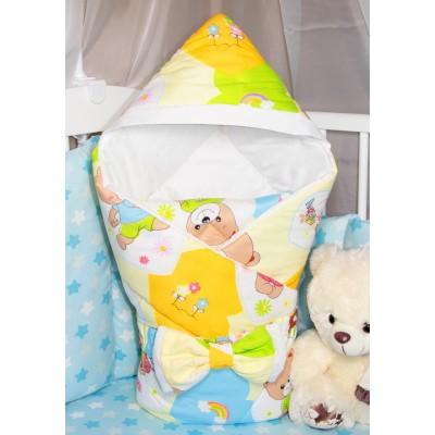 """Конверт-одеяло для новорожденного с капюшоном на выписку """"Мишки Love"""" CherryMom"""