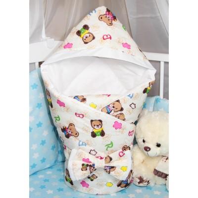 """Конверт-одеяло с капюшоном для новорожденного на выписку """"Нарядные Мишки"""" CherryMom"""