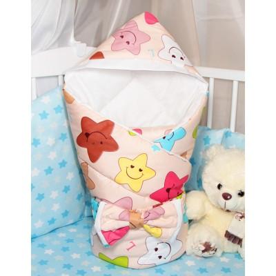 """Конверт одеяло для новорожденного на выписку с капюшоном """"Smile Stars"""" CherryMom"""