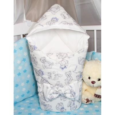 """Конверт одеяло с капюшоном для новорожденного на выписку """"Teddy Bear"""" CherryMom"""
