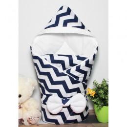"""Конверт одеяло с капюшоном для новорожденного """"Зигзаги"""" (CherryMom)"""