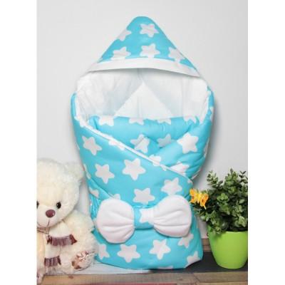 """Детский конверт одеяло с капюшоном на выписку """"Звезды на бирюзе"""" CherryMom"""