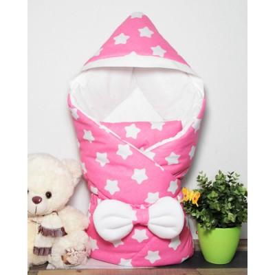 """Детский конверт-одеяло с капюшоном для новорожденной девочки """"Звезды на розовом"""" CherryMom"""