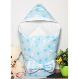 """Конверт одеяло с капюшоном на выписку """"Звездный микс голубой"""" (CherryMom)"""