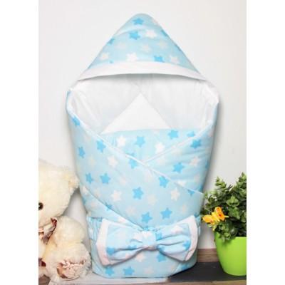 """Детский конверт-одеяло с капюшоном на выписку """"Звездный микс голубой"""" CherryMom"""