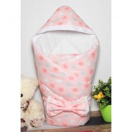 """Конверт одеяло с капюшоном для новорожденной """"Звездный микс розовый"""" (CherryMom)"""