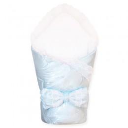 """Конверт-одеяло на выписку с кружевом """"Голубое"""" (CherryMom)"""
