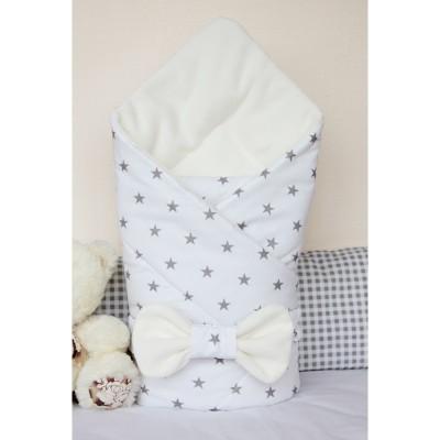 """Конверт-одеяло для новорожденных на выписку """"Звезды на белом"""" CherryMom"""