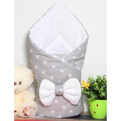 """Конверт-одеяло для новорожденного на выписку """"Звезды на сером"""" CherryMom"""