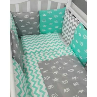 """Комплект в кроватку для новорожденного """"Короны"""" (мятный) 6 предметов"""