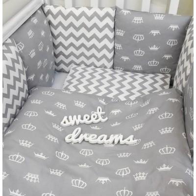 """Комплект в детскую кроватку """"Короны"""" (серый) 6 предметов"""