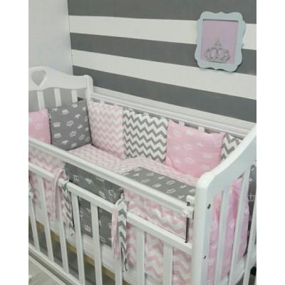 """Комплект в кроватку для новорожденного """"Короны"""" (розовые)"""