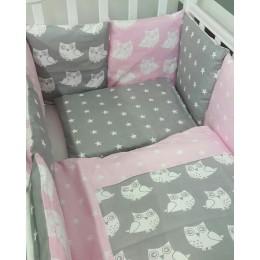 Комплект в кроватку Совята (розовый)