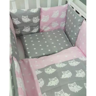 Комплект в детскую кроватку Совята (розовый) 6 предметов