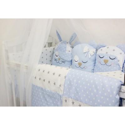 """Комплект постельных принадлежностей в кроватку с игрушками """"Друзья"""" (голубой) byTwinz"""