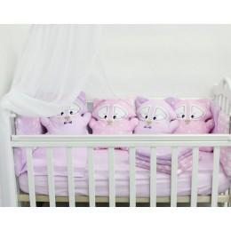 """Комплект в детскую кроватку с игрушками """"Енотики"""" (розовый) byTwinz"""