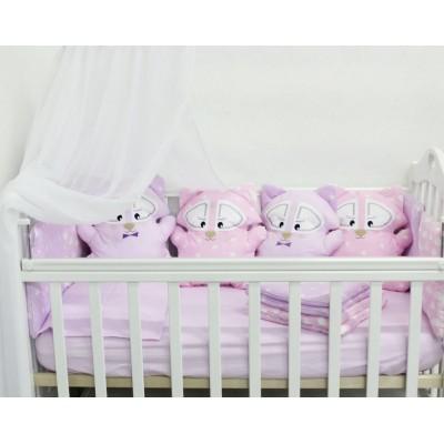 """Детский комплект постельного белья в детскую кроватку с игрушками """"Енотики"""" (розовый) byTwinz"""