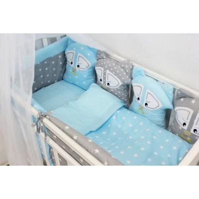 """Комплект постельного белья в детскую кроватку с игрушками """"Енотики"""" (голубой) byTwinz"""
