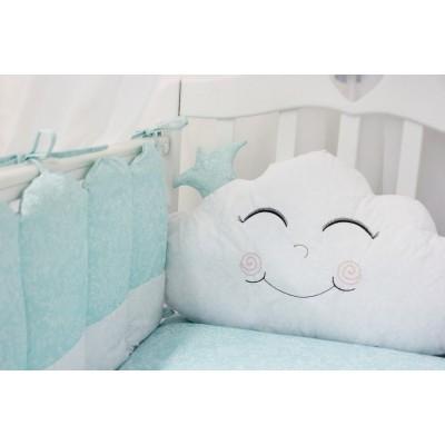 """Детский постельный комплект в детскую кроватку с бортиками-игрушками """"Звездочка"""" (голубой) byTwinz"""