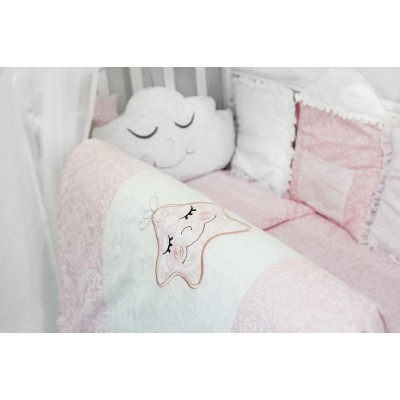 """Детский комплект постельного белья в детскую кроватку с бортиками-игрушками """"Звездочка"""" (розовый) byTwinz"""