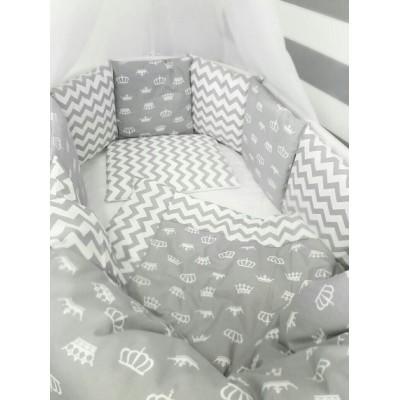 """Комплект в круглую кроватку для новорожденных """"Короны"""" (серые) byTwinz"""