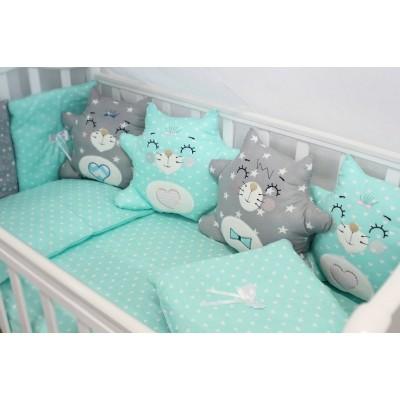 """Комплект белья в кроватку для новорожденного с бортиками-игрушками """"Котики"""" (мята) byTwinz"""