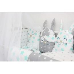 """Комплект в детскую кроватку с игрушками """"Друзья"""" (мята) byTwinz"""
