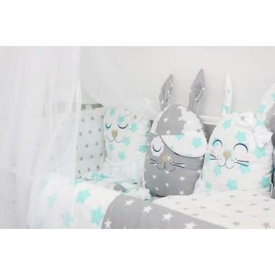 """Комплект постельного белья в детскую кроватку с игрушками """"Друзья"""" (мята) byTwinz"""