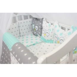"""Комплект в кроватку для новорожденных с бортиками-игрушками """"Совушки"""" byTwinz"""