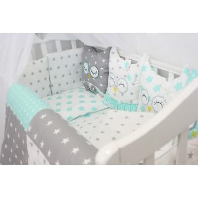 """Комплект в детскую кроватку для новорожденных с бортиками-игрушками """"Совушки"""" (мята) byTwinz"""
