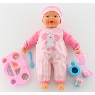 """Интерактивная кукла """"Пупс"""": озвученная, кушает с ложечки (с набором для кормления) Falca"""