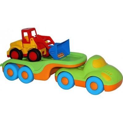 """Детская игрушечная машинка-трейлер """"Дружок"""" + Погрузчик """"Базик"""" Полесье"""