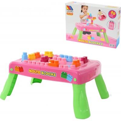 Набор игровой с конструктором (20 элементов) в коробке (розовый) Полесье
