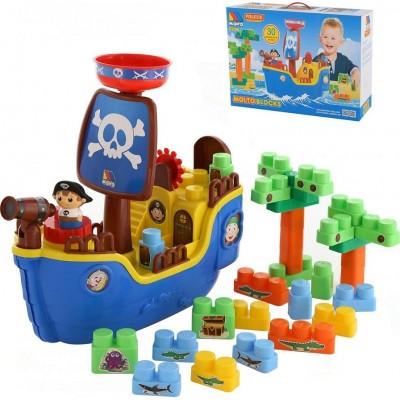 """Игровой набор """"Пиратский корабль"""" + конструктор (30 элементов) (в коробке) Molto Полесье"""