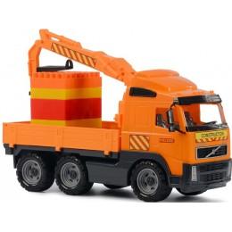 """Машинка-кран с манипулятором и конструктором """"Супер-Микс"""" Volvo (Полесье)"""