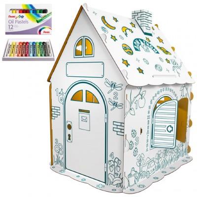"""Детский картонный домик-раскраска """"Дом Гном"""" с набором пастели"""