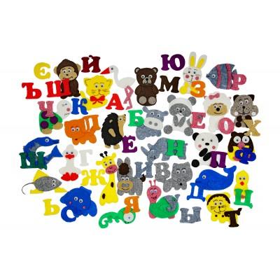 """Алфавит на липучках с животными """"Азбука с картинками"""" с игровым полем (61дет)"""